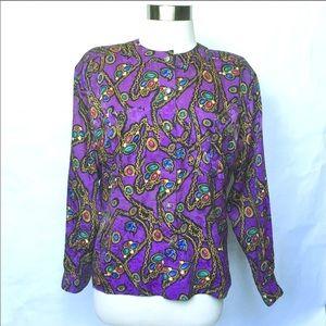 Vintage 80s Purple Silk Christmas Theme Blouse 8